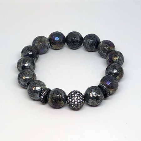 Faceted Natural Labradorite Stretch Bead Bracelet Gunmetal