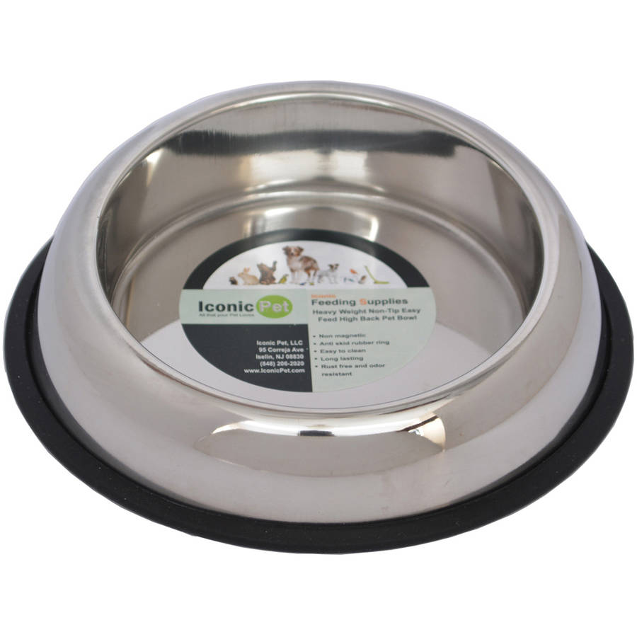 Iconic Pet Heavy Weight Non-Skid Easy Feed High Back Pet Bowl For Dog or Cat, 16 Oz, 2 Cup
