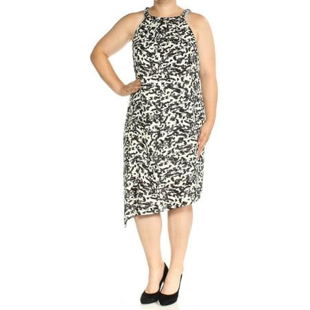THALIA SODI Womens Black Printed Sleeveless Jewel Neck Below The Knee Shift Dress Size: XL