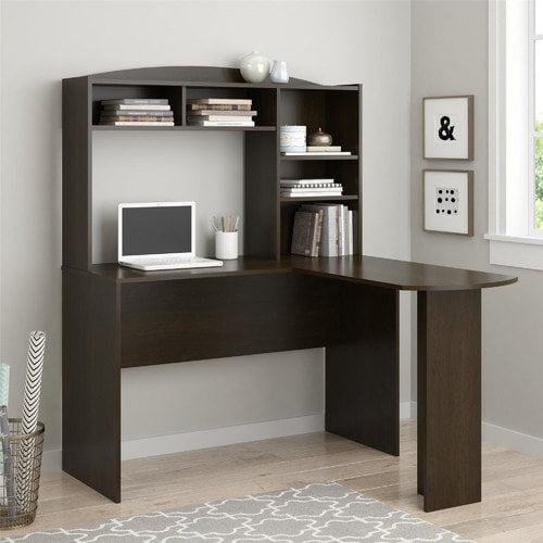Altra Furniture Sutton L Desk with Hutch in Dark Russet Cherry