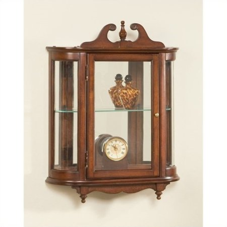 Cherry Carved Curio Cabinet - Butler Specialty Wall Curio in Plantation Cherry Finish