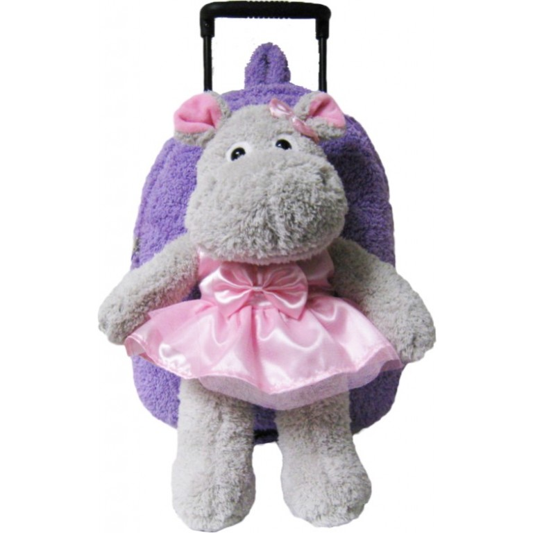 Kids Ballet Hippo Animal Plush Luggage Toddlers Roller Backpack