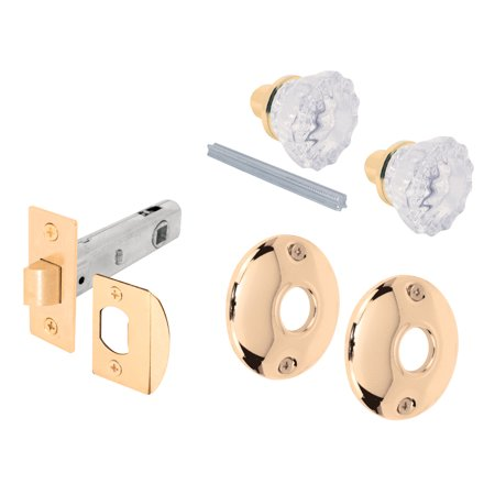 Prime Line E2317 Glass Knob Passage Door Latch Set with Latch (Rosewood Bolt)