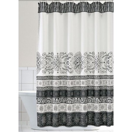 Home Classics Chase Shower Curtain Ivory & Black Floral Stripe Bath ...
