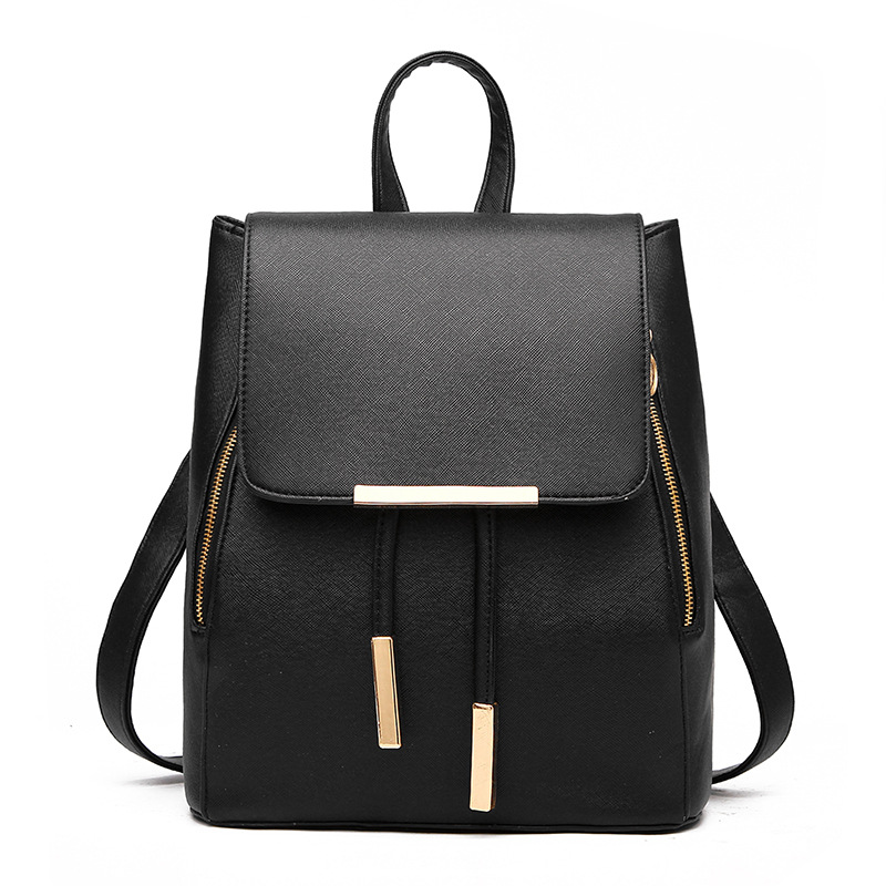 Women's Backpack PU Leather Simple Style Casual Teenagers School Outdoor Travel Bags (Black)