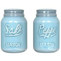 Vintage Mason Jar Salt & Pepper Shakers by Comfify - Adorable Decorative Mason Jar Decor for Vintage, Rustic, Shabby Chic - Sturdy Ceramic in Green - 3.5 oz. Cap