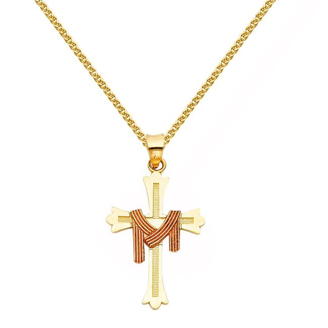 Precious Stars Jewelry 14k Two-tone Gold Draped Robe Cross Pendant with 1.5-mm Flat Wheat Chain - image 1 de 1