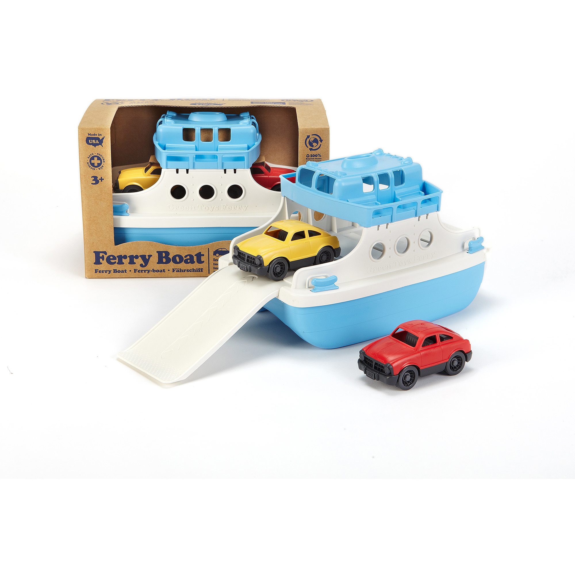 Green Toys Ferry Boat with Mini Cars Bathtub Toy Blue//White