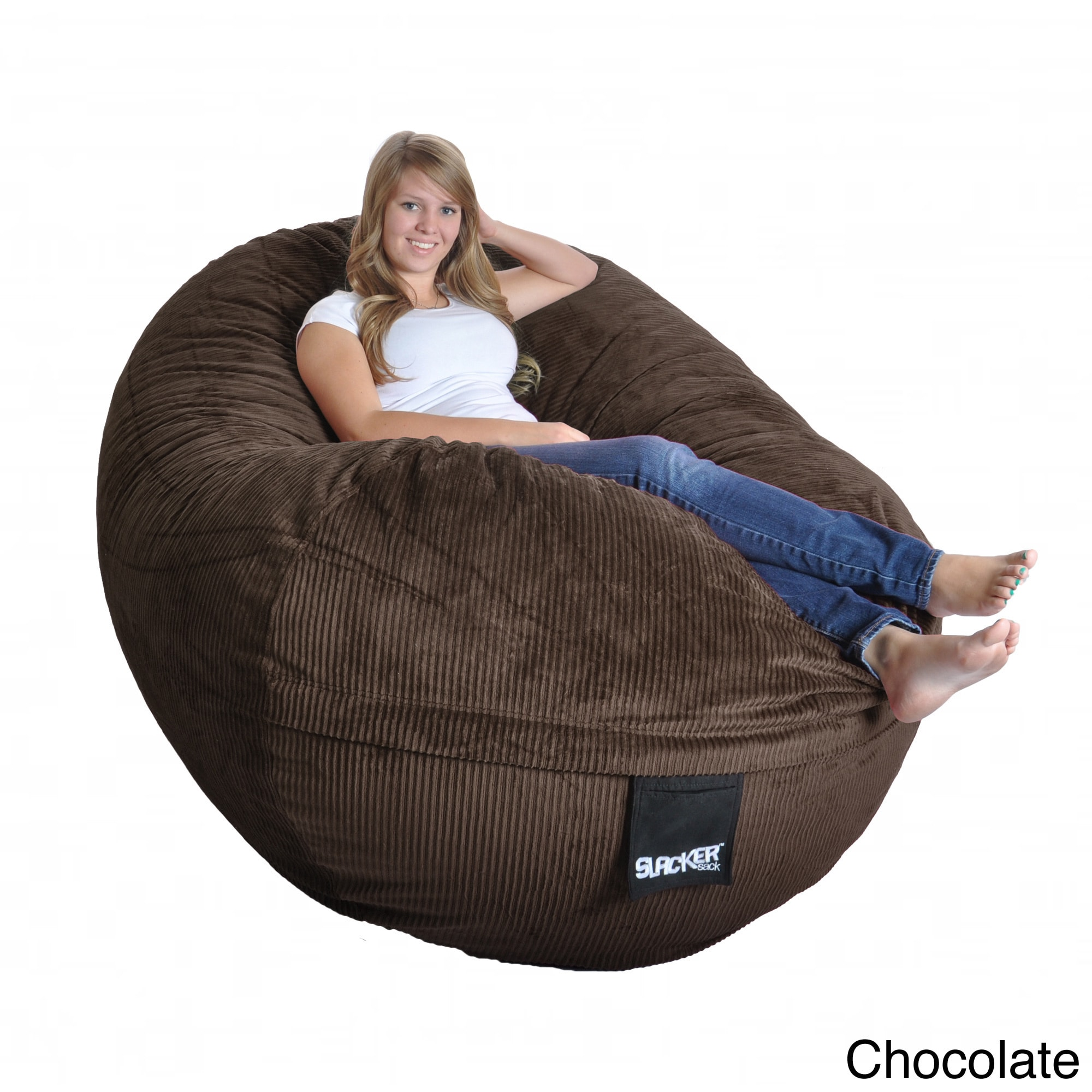 Slacker Sack Corduroy Oval Large Microfiber Suede And Foam Bean Bag Chair