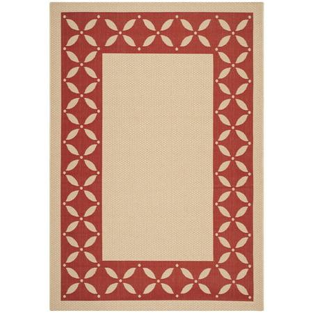 Martha Stewart  by  Mallorca Border Cream/ Red Indoor/ Outdoor Rug - 5'3