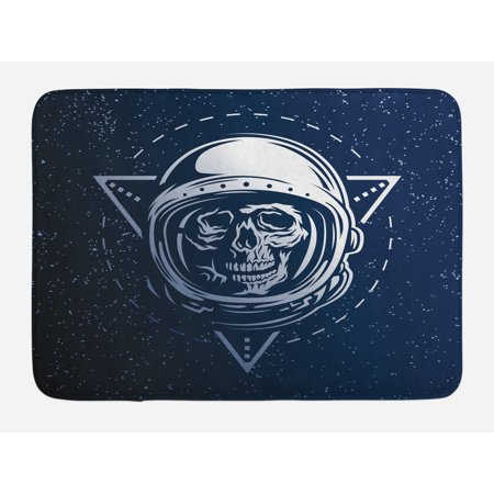 Outer Space Bath Mat, Dead Skull Head Icon Cosmonaut Costume Astronomy Terrestrial Horror Scare Image, Non-Slip Plush Mat Bathroom Kitchen Laundry Room Decor, 29.5 X 17.5 Inches, Grey Blue, Ambesonne (Outer Space Costumes)
