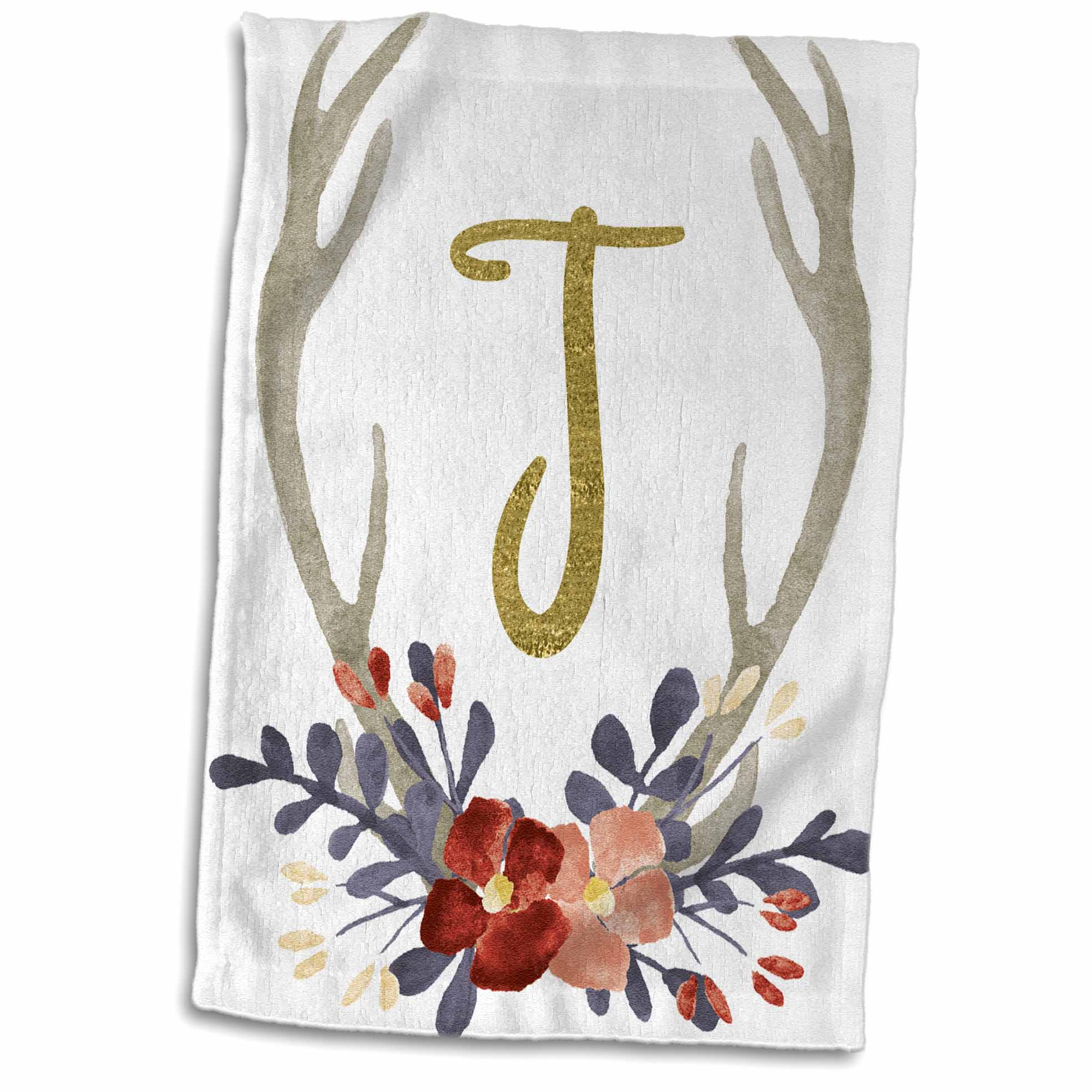 3dRose Glam Gold J Monogram In A Watercolor Pink and Blue Floral Antler - Towel, 15 by 22-inch
