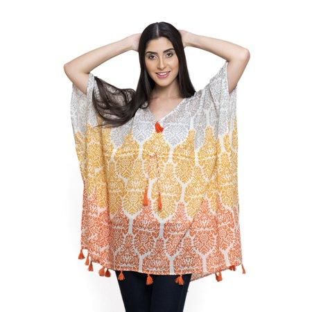 100% Silk Poncho (100% Cotton V-Neck Gift Poncho with Tassels Free Size )