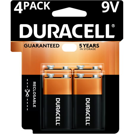 Duracell Coppertop Alkaline Long Lasting 9V Batteries 4