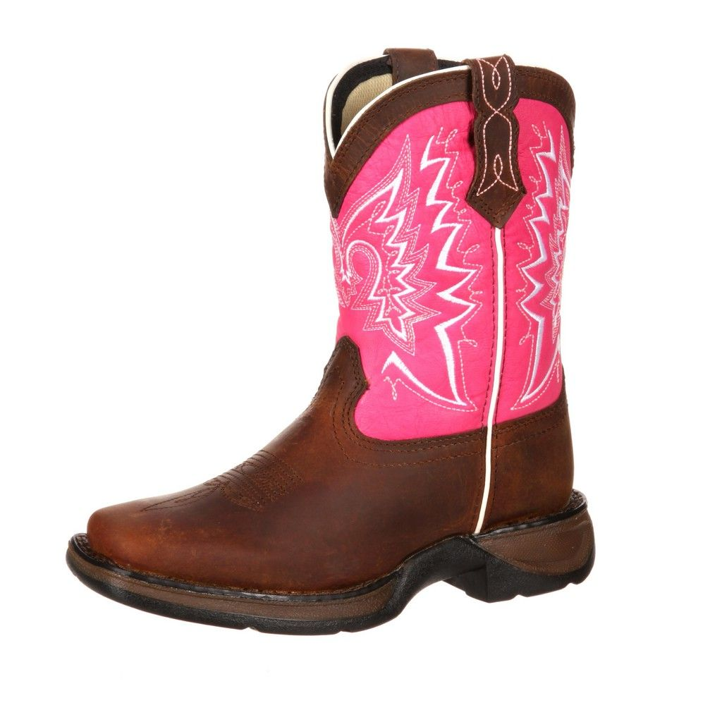 Durango Western Boots Girls Let Love Fly Youth Brown Pink DWBT094
