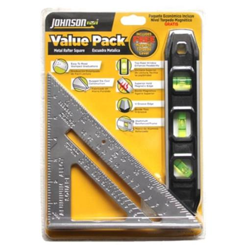 Johnson Level 1901-0000 Metal Rafter Square & Magnetic Torpedo Level Value Pack