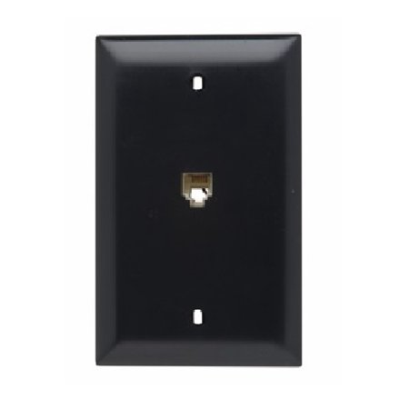 Pass & Seymour - TPTE1BK - Black - 4 Conductor-Modular Telephone Jack