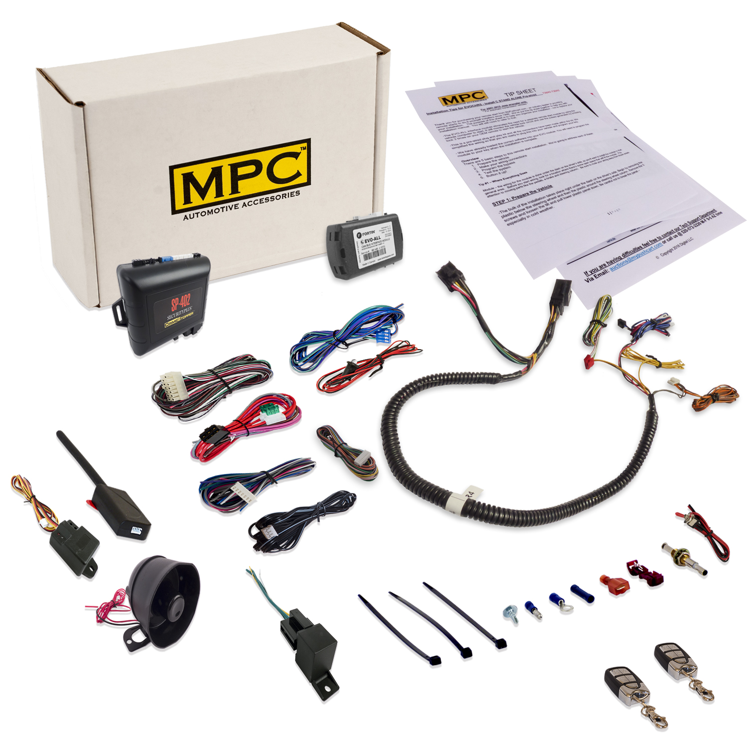 Complete Remote Start & Alarm Combo w  Plug In Bypass for Chyrsler Dodge Jeep by MPC