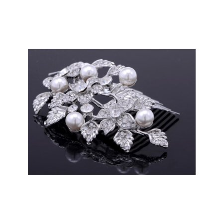 Leaf Comb - Silvertone Genuine Rhinestone Flowers and Leaves Cluster Fashion Hair Comb