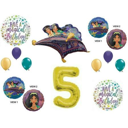 Aladdin 5th Birthday Party Balloons Decorations Supplies Jasmine Gold - Aladdin Birthday Party