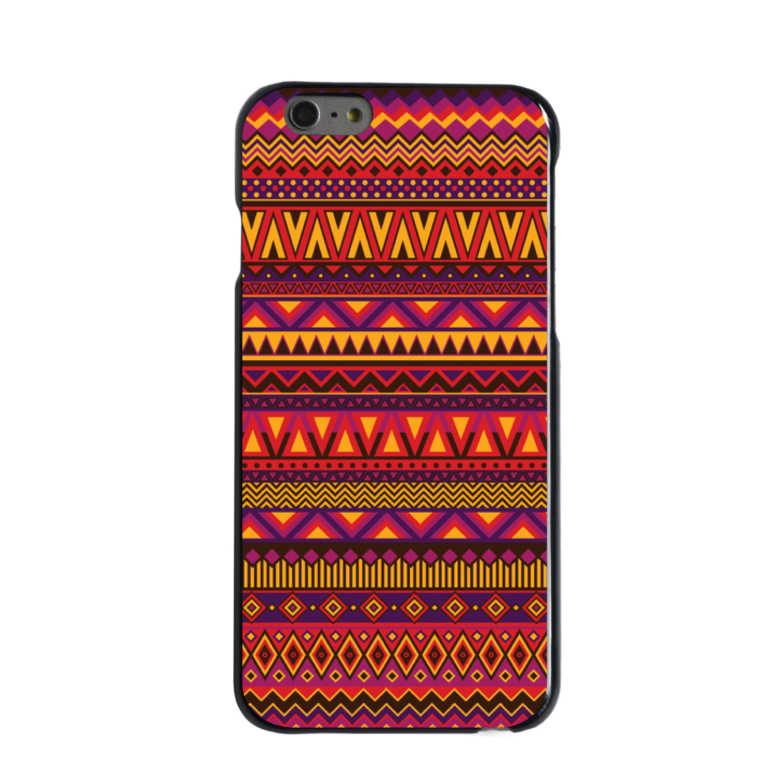 "CUSTOM Black Hard Plastic Snap-On Case for Apple iPhone 6 PLUS / 6S PLUS (5.5"" Screen) - Purple Red Yellow Tribal Print"