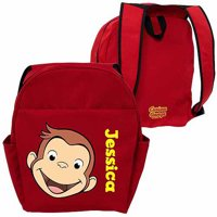 Curious George Personalized Funny Face Red Toddler Backpack