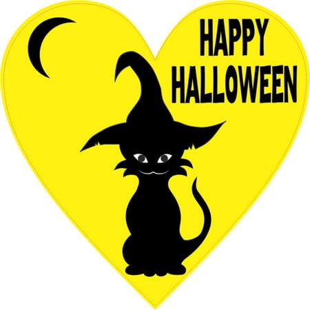 4 x 4 Yellow Happy Halloween Heart Sticker Vinyl Car Decal Bumper Stickers