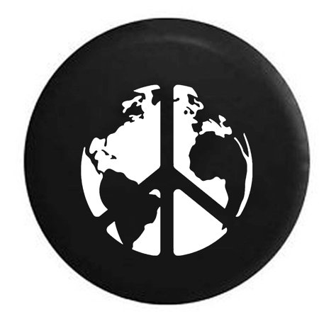 World Peace Sign Global Harmony & Love Spare Tire Cover Vinyl Black 27.5 in