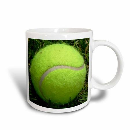 3dRose Tennis Ball Photo in the Grass - Ceramic Mug,