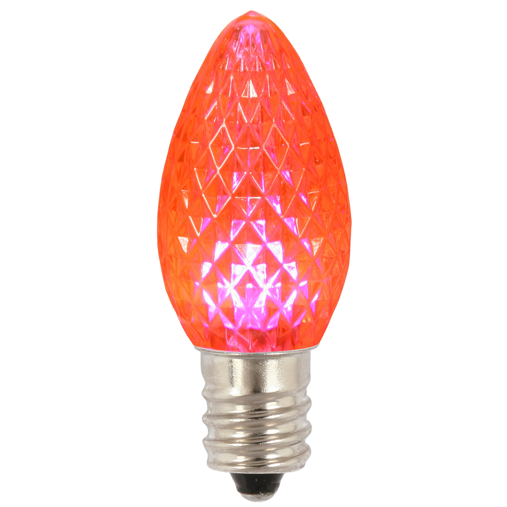 Club Pack of 25 Faceted Pink Twinkle LED C7 Christmas Replacement Bulbs