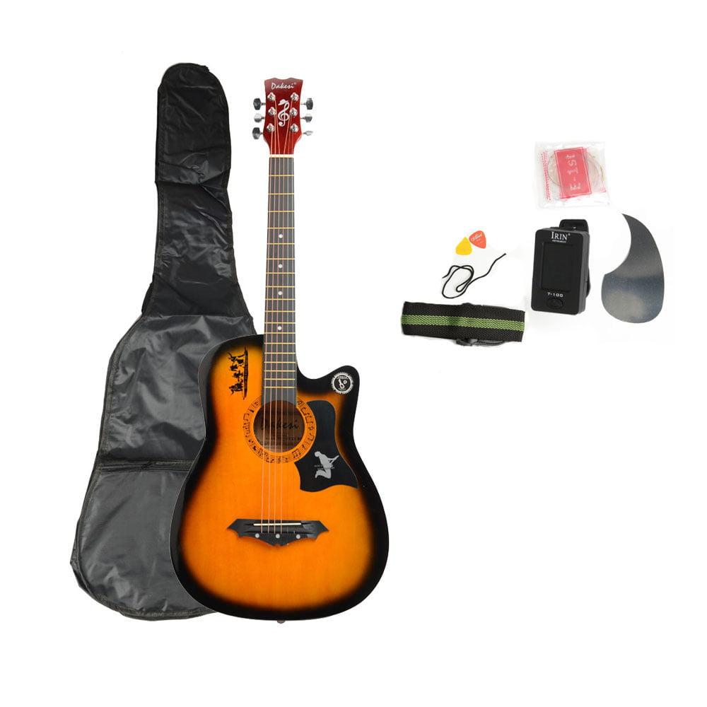 Ktaxon DK-38C Basswood Acoustic Guitar + Bag + Straps + Picks + LCD Tuner + Pickguard + String Set