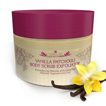 Salt & Oil Based Body Scrub Exfoliator Vanilla Patchouli: Get a Soft Skin With a Divine Scent! Organic & Natural Deep Cleanse, Use Before Self Tanning, Treat Acne, Wrinkles, Ingrown Hair, (Best Way To Get A Natural Tan)