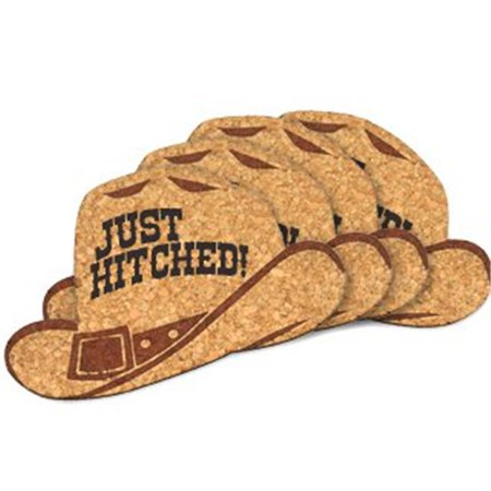 Ducky Days 8497191 3.25 x 4.75 in. Just Hitched Cowboy Hat Cork Coaster Wedding Favors - Set of 4