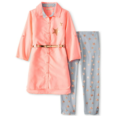 Poplin Belted Tunic and Printed Legging, 2-Piece Outfit Set (Little Girls & Big Girls)