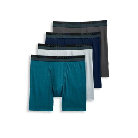 Jockey Life 3+1 Bonus Pack Men's 24/7 Comfort Blend Long Leg Boxer Brief (Mens Jockey Underwear Big)