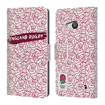 OFFICIAL ENGLAND RUGBY UNION 2016/17 PATTERNS LEATHER BOOK WALLET CASE COVER FOR MICROSOFT NOKIA PHONES