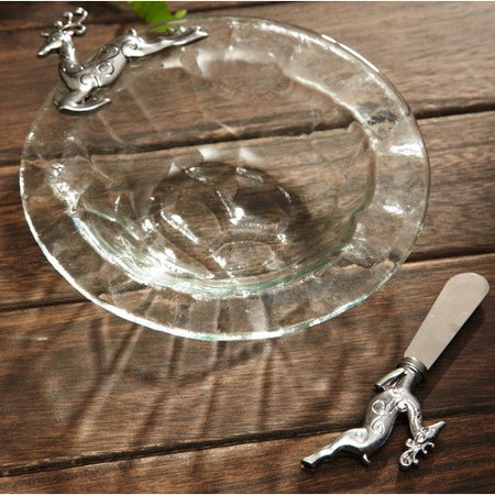 Serveware, Glass Dancing Reindeer Clear Glass Dip Bowl & Antique Gold Spreader/Handles