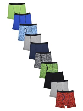 Wonder Nation Boys Underwear, 10 Pack Space Dye Boxer Brief Sizes S - 2XL & Husky