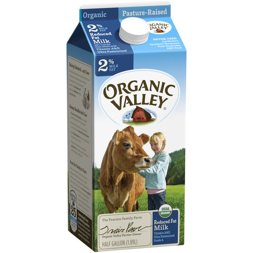 Organic Valley Organic Reduced Fat Milk, 0.5 gal