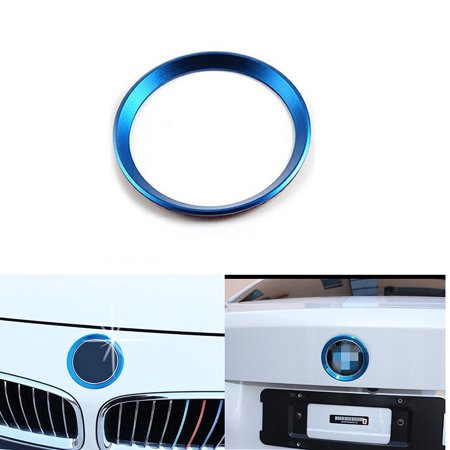 Xotic Tech 1 x Car Front Hood Rear Trunk Logo Emblem Surrounding Ring for BMW 1 3 5 6 7 Z X Series, Auto Exterior Decoration, Blue 82mm/ 3.2