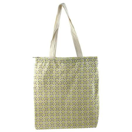 Travel Shopping School Flower Print Reusable Zipper Closure Handbag Tote Bag ()