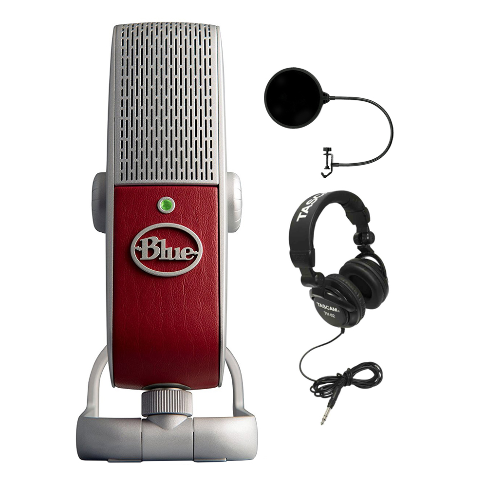 BLUE MICROPHONES Premium Mobile USB Microphone (Raspberry) with Pop Shield Universal Pop... by Blue Microphones