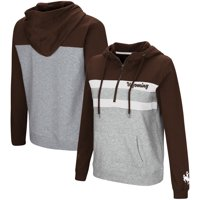 Wyoming Cowboys Colosseum Women's Play the Game Quarter-Zip Pullover Hoodie - Brown/Gray