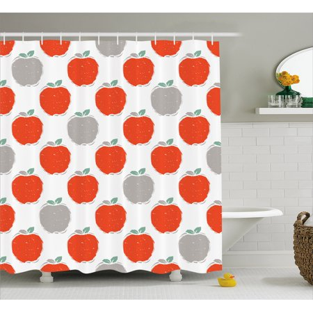 Apple Shower Curtain, Doodle Style Fruit Silhouettes Healthy Sweet Apple Sketches Agriculture, Fabric Bathroom Set with Hooks, 69W X 84L Inches Extra Long, Scarlet Pale Grey Teal, by Ambesonne