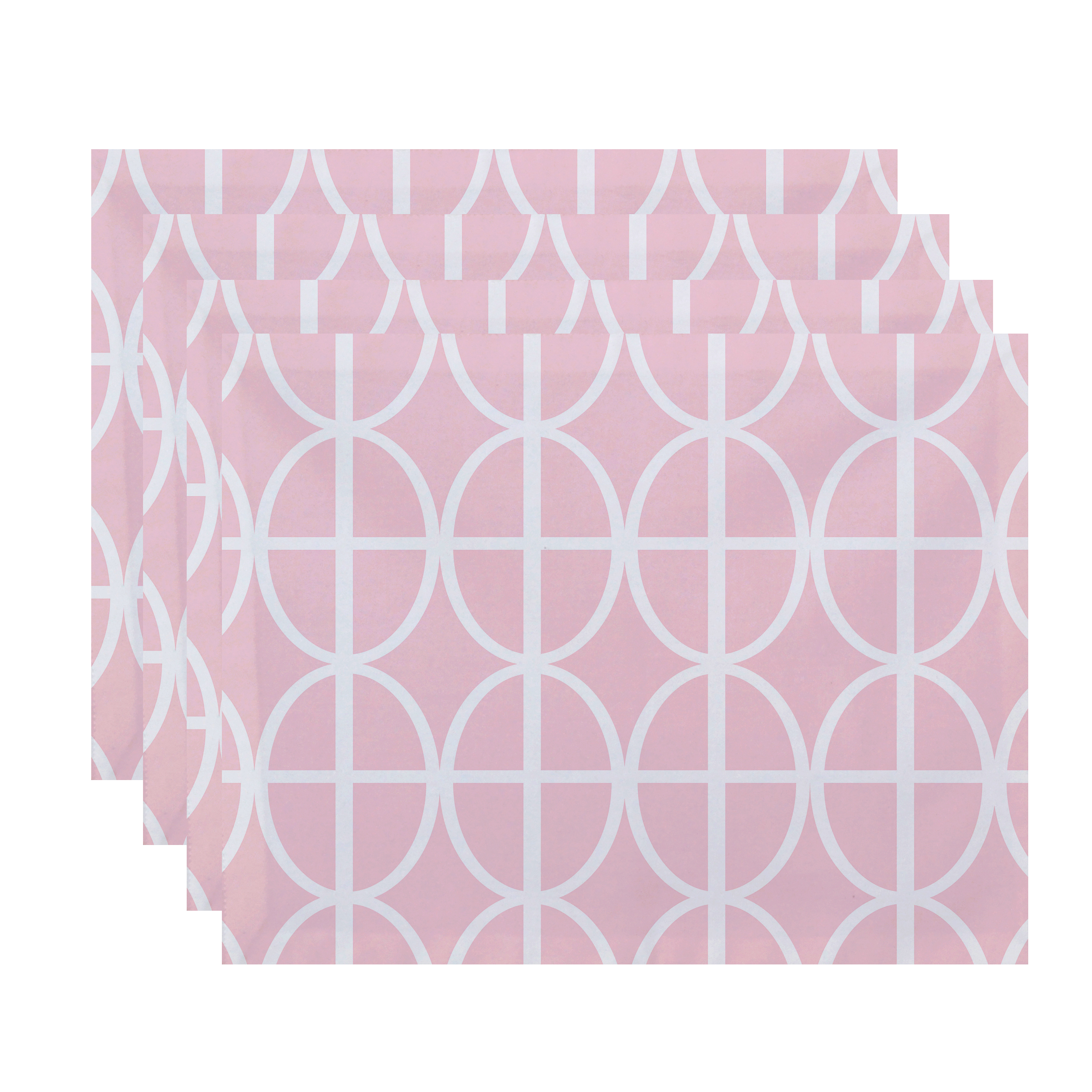 Simply Daisy, 18 x 14 Inch Ovals and Stripes Geometric Print Placemat (set of 4), Pink