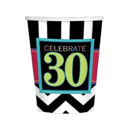 Chevron Mix 30th Birthday 9oz Cups (8 Pack) - Party Supplies](30th Birthday Cups)