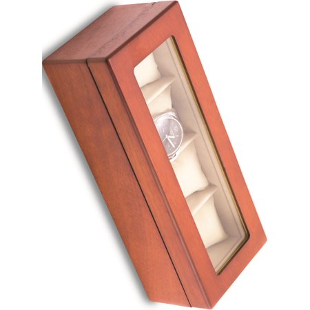 Cherry Wood 4 Watch Box W/Glass Top And Velour Lining & Pillows Designer Jewelry by Sweet Pea