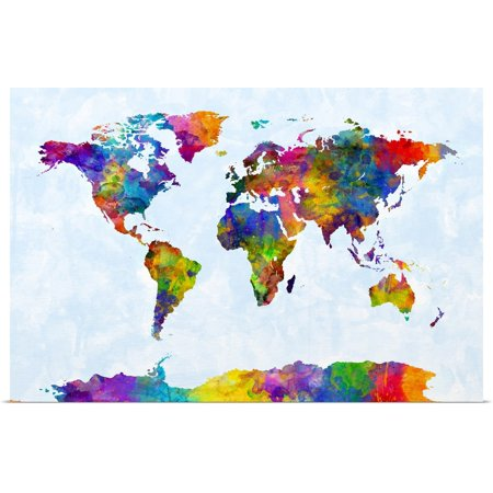 Watercolor Map Of The World (Great BIG Canvas   Rolled Michael Tompsett Poster Print entitled Watercolor Map of the World)