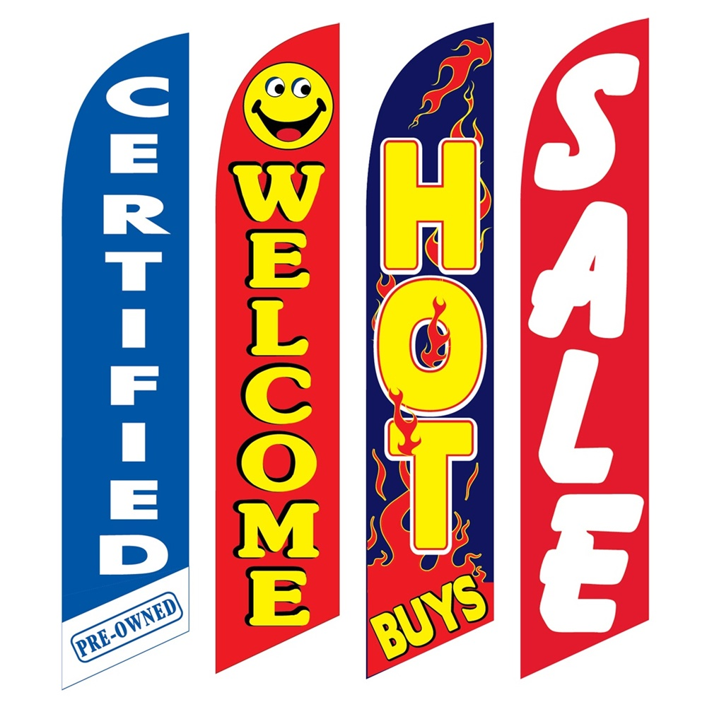 4 Advertising Swooper Flags Certified Welcome Hot Buys Sale