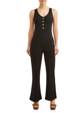 a343b2e51bd3 Product Image Juniors  Ribknit Button Front Sleeveless Wide Leg Jumpsuit